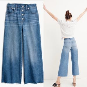 Madewell Crop Wide Leg Button Front Jeans 23 T